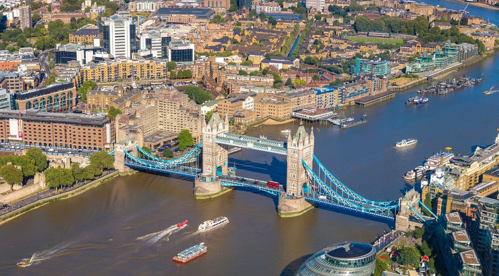 Panoramic aerial view of Bridges in London
