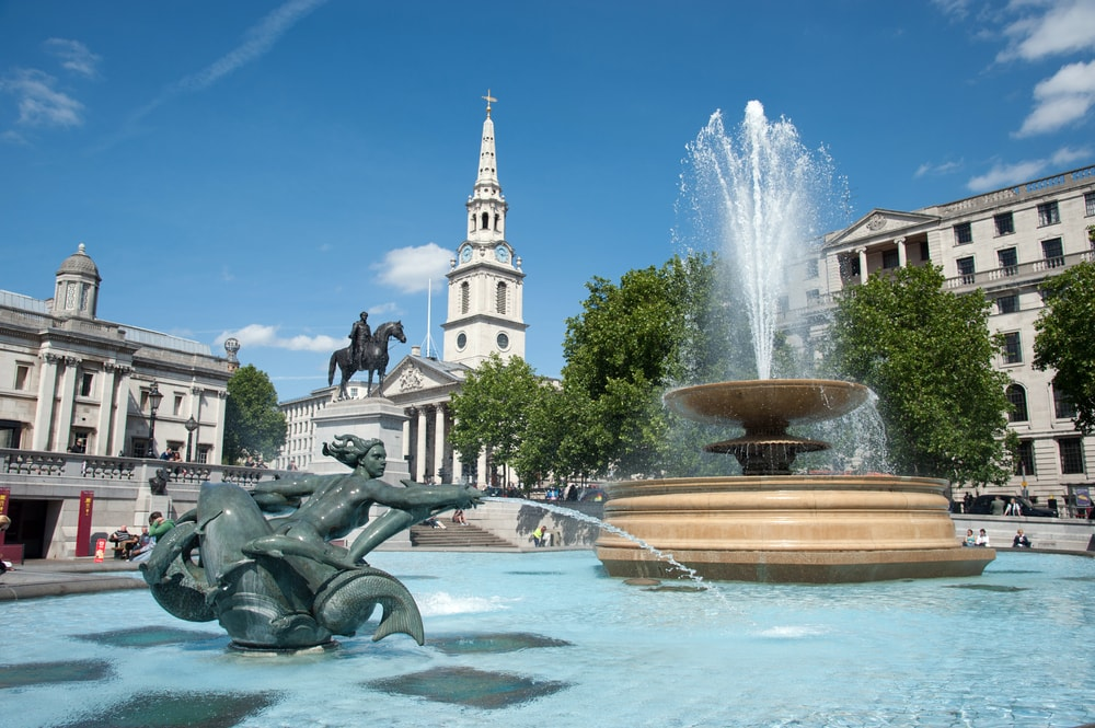 The Fountain View at Trafalgar Square, London, UK